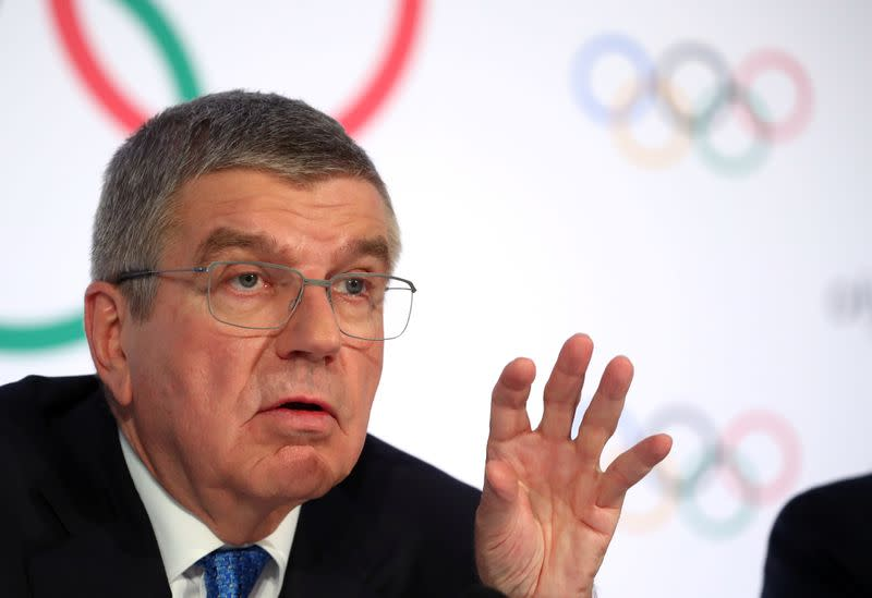 FILE PHOTO: IOC President Bach attends a news conference in Lausanne