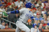 Chicago Cubs' Ian Happ watches his two-run home run ball while following through during the fifth inning of a baseball game against the St. Louis Cardinals, Saturday, Sept. 28, 2019, in St. Louis. (AP Photo/Scott Kane)