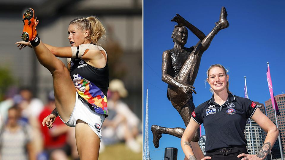 A statue of Tayla Harris' iconic kick has been unveiled in Melbourne.