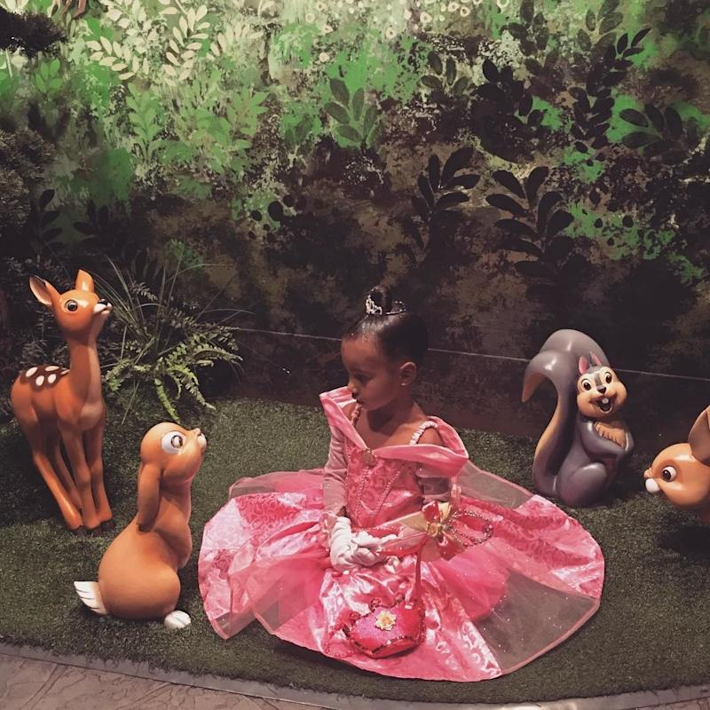 Visiting Bambi's friends while in character at Disneyland.