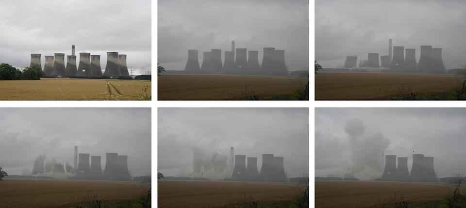 A combination of pictures showing the cooling towers being destroyed (Peter Byrne/PA) (PA Wire)