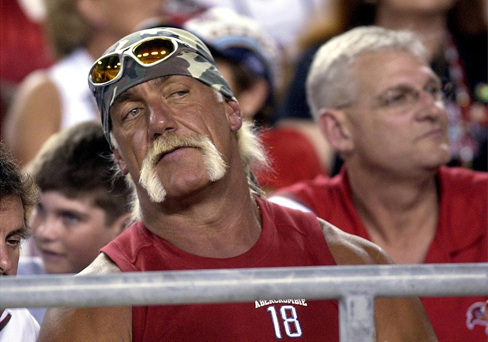 <p>Hulk Hogan is such a big Buccaneers fan that he visited the team's training camp back in 2018, meeting and posing for pictures with players.</p>