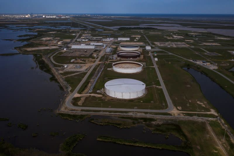The Bryan Mound Strategic Petroleum Reserve is seen in an aerial photograph over Freeport, Texas