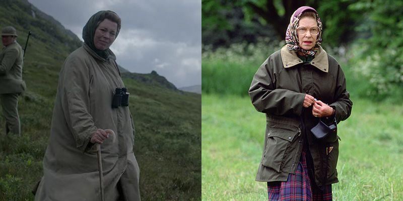 <p>Queen Elizabeth's off duty look is about as predictable as it comes, but important to get right. <em>The Crown </em>managed to recreate her rain coat, headscarf, and plaid skirt look flawlessly in season 4, even including the Queen's trusted binoculars. </p>