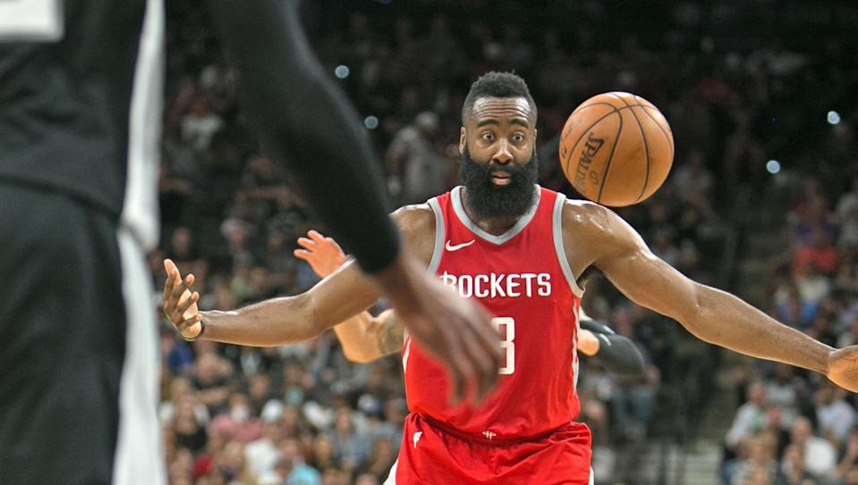 James Harden is in the conversation to be the top overall fantasy pick in 2018. (Photo by Ronald Cortes/Getty Images)