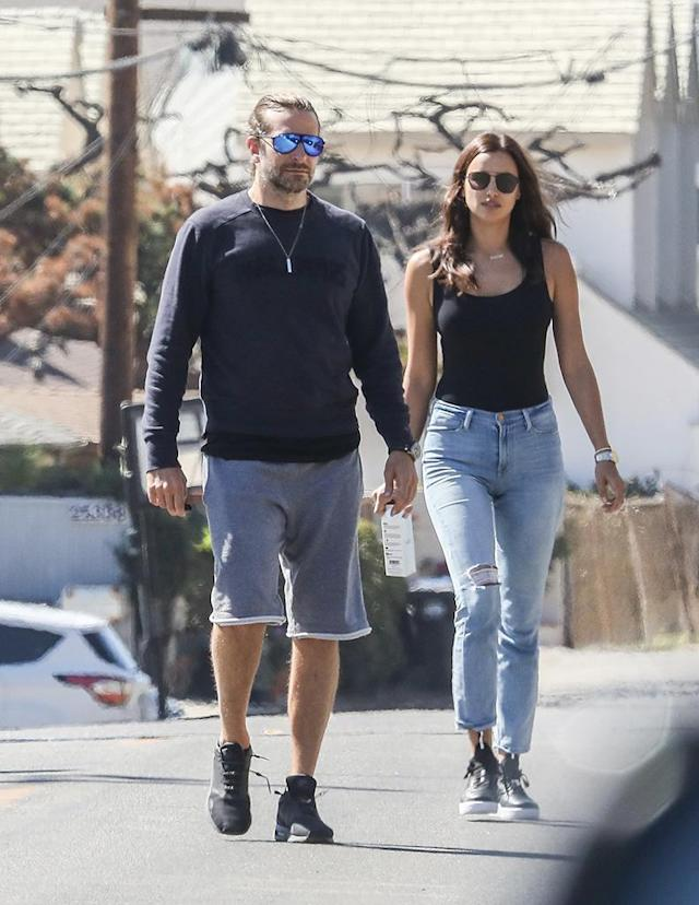 "<p>Bradley Cooper and Irina Shayk left their little one at home to head to a party in Malibu. Parents' day away had the couple feeling frisky as Irina was snapped <a href=""http://www.usmagazine.com/celebrity-news/pictures/irina-shayk-playfully-grabs-bradley-coopers-butt-pics-w505403"" rel=""nofollow noopener"" target=""_blank"" data-ylk=""slk:getting handsy with her man"" class=""link rapid-noclick-resp"">getting handsy with her man</a>. If Cooper were our boyfriend, we'd do the same thing. (Photo: Spot/Backgrid) </p>"