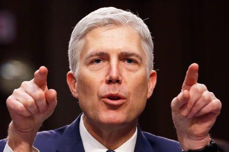 FILE PHOTO --  Supreme Court nominee judge Gorsuch testifies during third day of Senate Judiciary Committee confirmation hearing on Capitol Hill in Washington