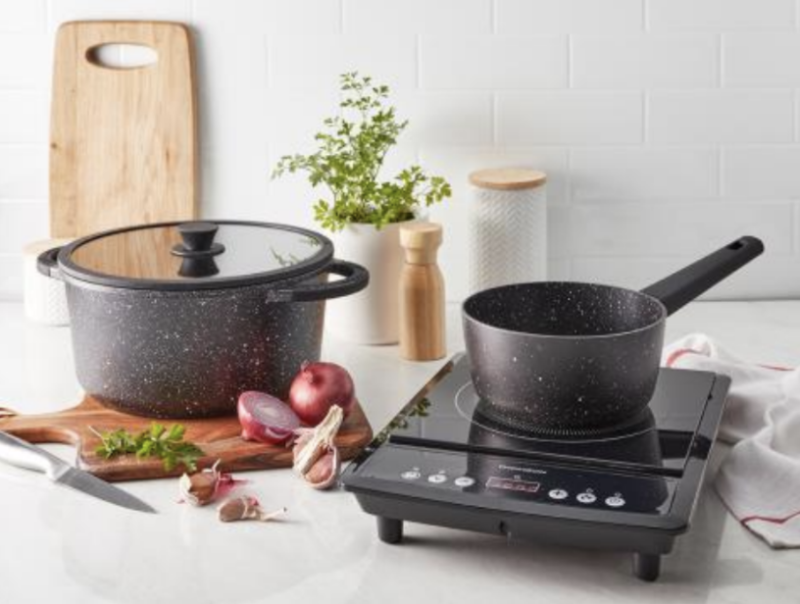Coles are selling these grey saucepans at bargain prices at select stores in Victoria and Western Australia.