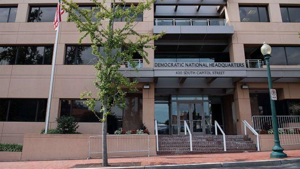 PHOTO: In this Aug. 22, 2018 file photo the headquarters of the Democratic National Committee in Washington, D.C. is seen.  (Saul Loeb/AFP via Getty Images, FILE)