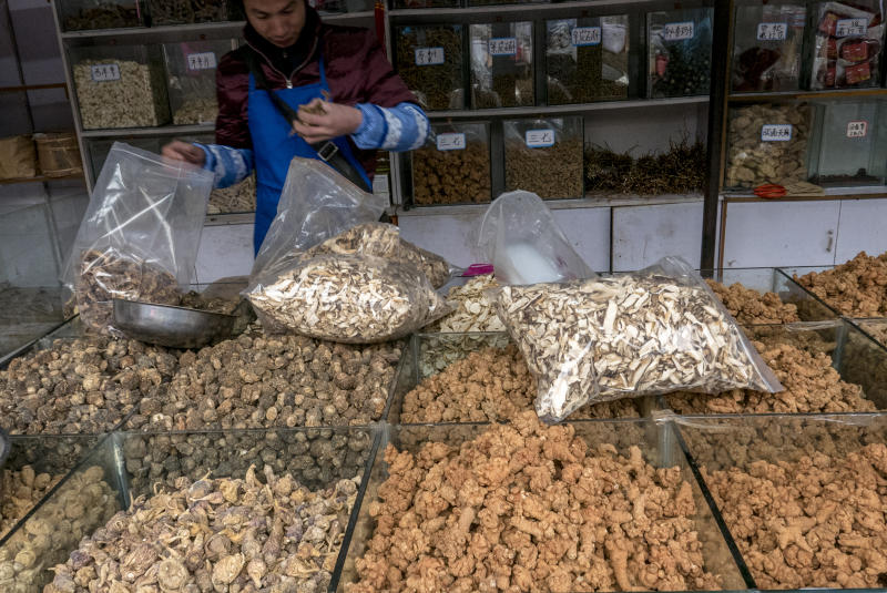 LIJIANG, YUNNAN PROVINCE, CHINA - 2015/12/04: Stall selling Maca, which is very popular used as a root vegetable and a medicinal herb. Zhongyi market, located at the southern gate of Dayan ancient city, is the biggest market in Lijiang selling local produce, copper items and livestock, where visitors can get close to the vivid daily life of Naxi people. (Photo by Zhang Peng/LightRocket via Getty Images)