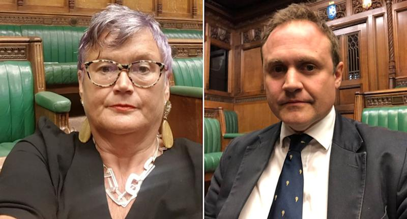 MPs Carolyn Harris and Tom Tugendhat took these selfies in the chamber on Tuesday, hours after the ruling. (PA)
