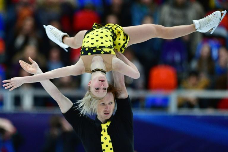 Russia's Evgenia Tarasova and Vladimir Morozov compete in the pairs' free skating at the ISU European Figure Skating Championships in Moscow on January 18, 2018