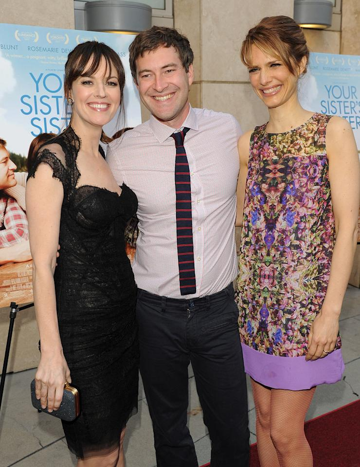 Rosemarie DeWitt, Mark Duplass and Lynn Shelton arrive at the Los  Angeles premiere of 'Your Sister's Sister' at ArcLight Cinemas on June  11, 2012 in Hollywood, California.