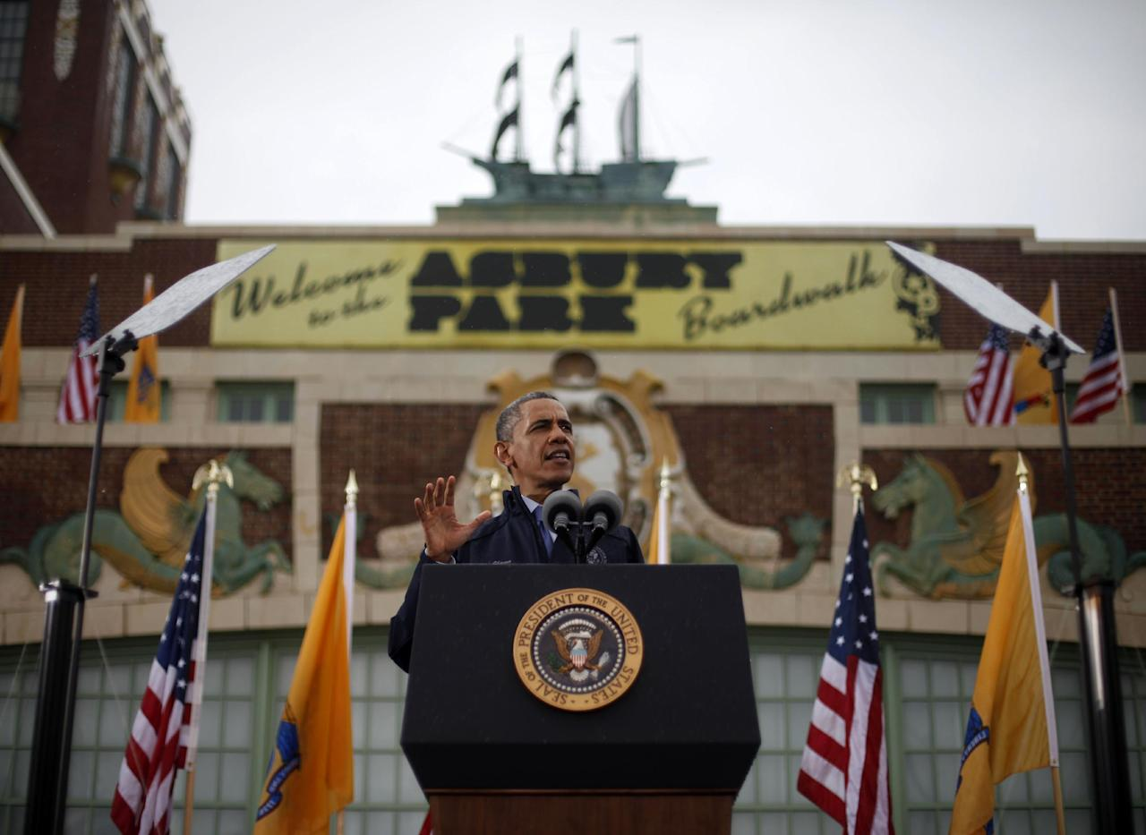 President Barack Obama speaks outside the Asbury Park Convention Hall ,Tuesday, May 28, 2013 in Asbury Park, New Jersey. Obama traveled to New Jersey to join Gov. Chris Christie to inspect and tour the Jersey Shore's recovery efforts from Hurricane Sandy. (AP Photo/Pablo Martinez Monsivais)