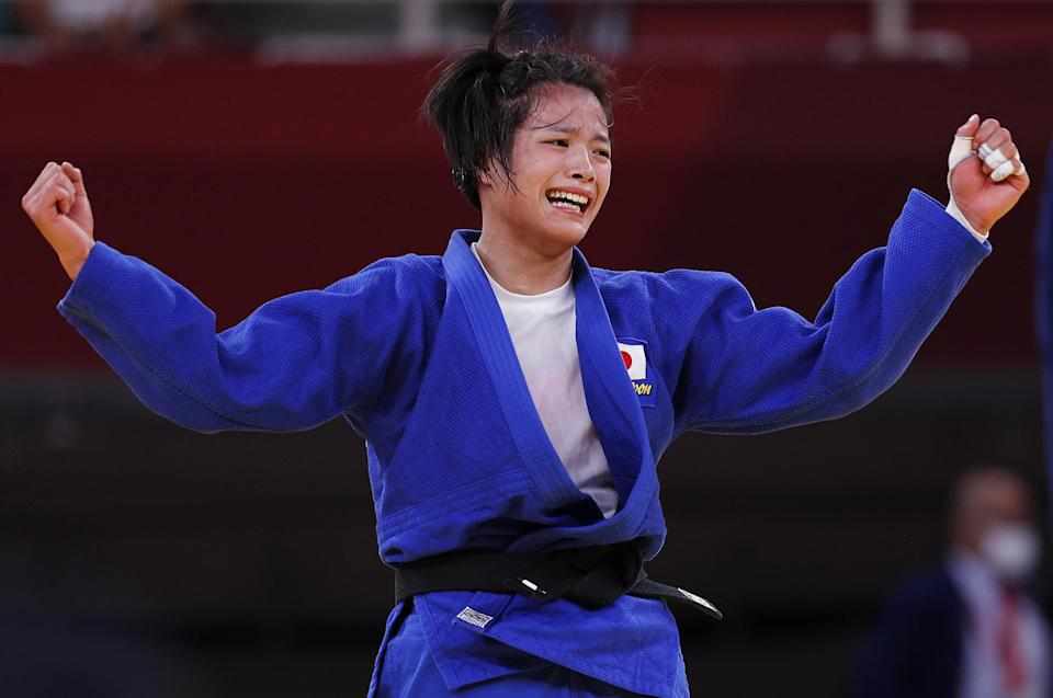 <p>Japan's Judo star Uta Abe lets her victory sink in as she makes history as the first Japanese gold medalist in her division after defeating France's Amandine Buchard at Nippon Budokan on July 25.</p> <p>Abe has more to celebrate at the Games: Older brother and fellow Olympian Hifumi also won gold in the men's 66-kg division. </p>