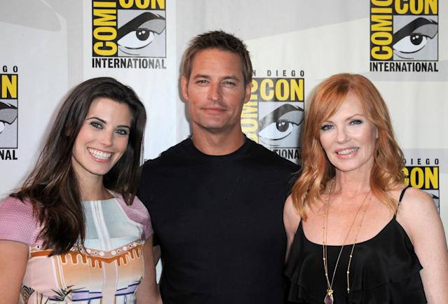 "SAN DIEGO, CA - JULY 18: (L-R) Actors Meghan Ory, Josh Holloway and Marg Helgenberger speak onstage at the ""Intelligence"" panel during Comic-Con International 2013 at San Diego Convention Center on July 18, 2013 in San Diego, California. (Photo by Albert L. Ortega/Getty Images)"