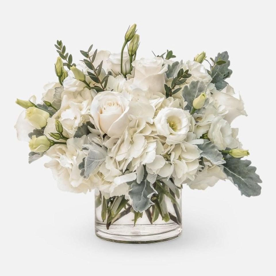 """For anyone living in NYC, PlantShed curates and hand-delivers freshly cut flowers in adorable vases. The brand carries a wide selection of gorgeous bouquets, including this heavenly white arrangement. Same-day delivery options are available for last-minute shoppers, as is local pickup at any one of its four locations in Manhattan and New Jersey. $59, Emily. <a href=""""https://www.plantshed.com/emily"""" rel=""""nofollow noopener"""" target=""""_blank"""" data-ylk=""""slk:Get it now!"""" class=""""link rapid-noclick-resp"""">Get it now!</a>"""