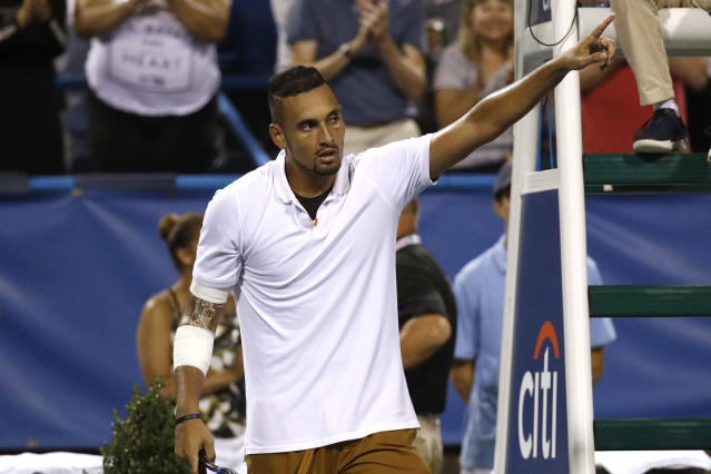 Nick Kyrgios, of Australia, gestures after defeating Stefanos Tsitsipas, of Greece, in a semifinal at the Citi Open tennis tournament, Saturday, Aug. 3, 2019, in Washington. (AP Photo/Patrick Semansky)