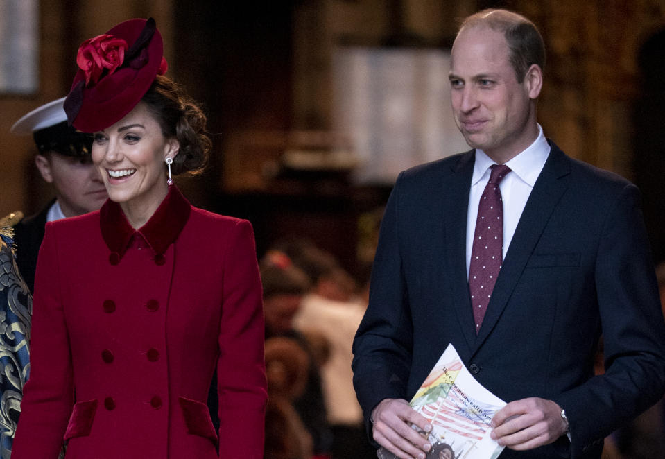 LONDON, ENGLAND - MARCH 09: Prince William, Duke of Cambridge and Catherine, Duchess of Cambridge attend the Commonwealth Day Service 2020 at Westminster Abbey on March 9, 2020 in London, England. (Photo by Mark Cuthbert/UK Press via Getty Images)