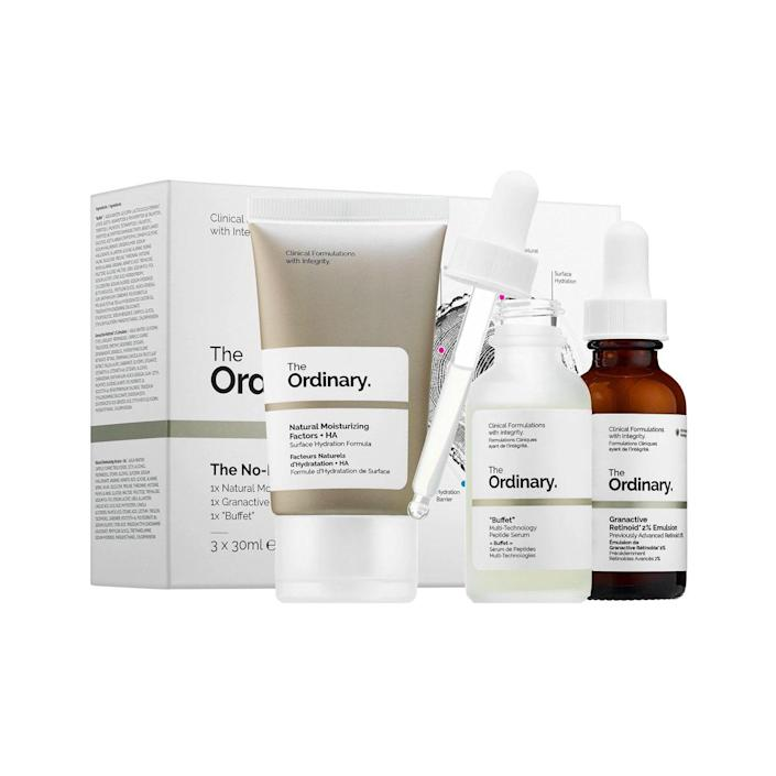 """Anyone who's curious about skin care but doesn't know where to start will appreciate this top-rated set from The Ordinary. It's a one-stop shop for key skin concerns from dryness to dullness. $75, Amazon. <a href=""""https://www.amazon.com/The-Ordinary-No-Brainer-Set/dp/B0797CCMTM"""" rel=""""nofollow noopener"""" target=""""_blank"""" data-ylk=""""slk:Get it now!"""" class=""""link rapid-noclick-resp"""">Get it now!</a>"""