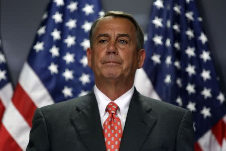 Boehner holds a news conference after a Republican Party caucus meeting on Capitol Hill in Washington