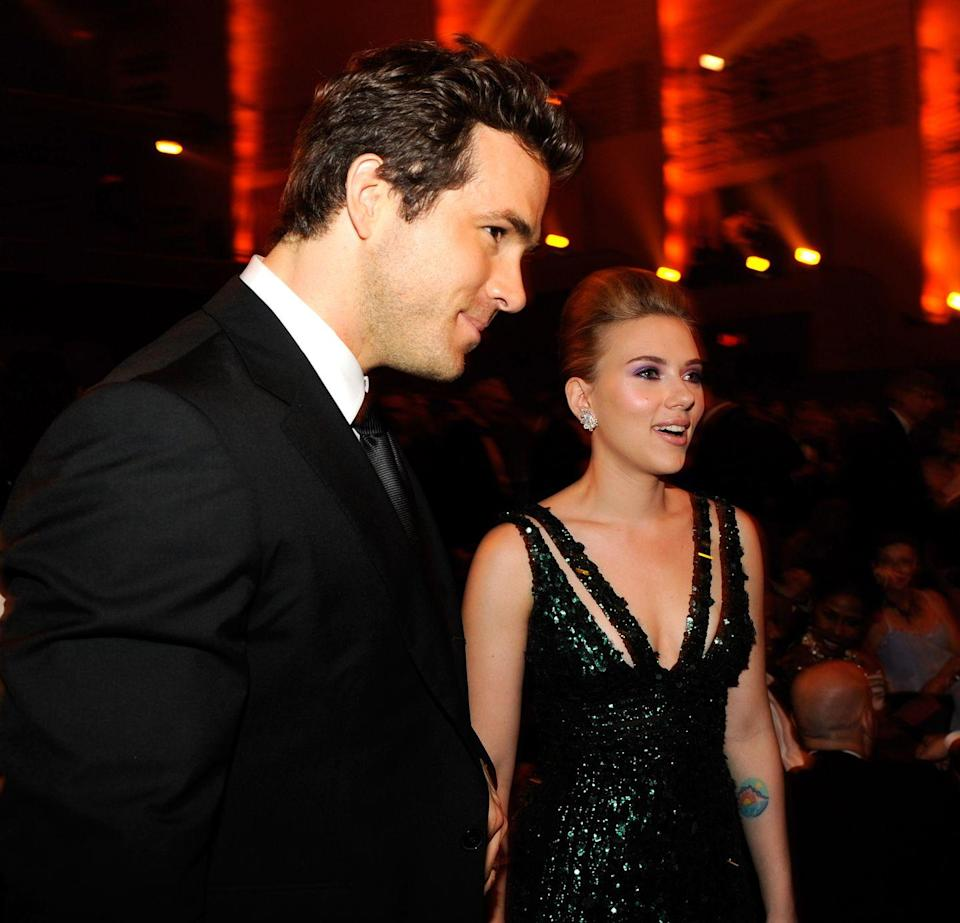 """<p>Scarlett Johansson and Ryan Reynolds were one of Hollywood's most elusive couples when they began dating in 2007. So, naturally, when they tied the knot, they opted for an elopement in Ryan's native Canada. The ceremony was reportedly held at a <a href=""""https://www.eonline.com/news/971823/everything-you-forgot-about-ryan-reynolds-and-scarlett-johansson-s-marriage-and-the-way-it-led-them-to-love-now"""" rel=""""nofollow noopener"""" target=""""_blank"""" data-ylk=""""slk:wilderness retreat outside of Vancouver"""" class=""""link rapid-noclick-resp"""">wilderness retreat outside of Vancouver</a>.</p>"""