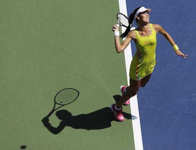 Serbia's Ana Ivanovic serves to Ukraine's Elina Svitolina in the first round of play at the 2012 US Open tennis tournament, Tuesday, Aug. 28, 2012, in New York. (AP Photo/Mike Groll)
