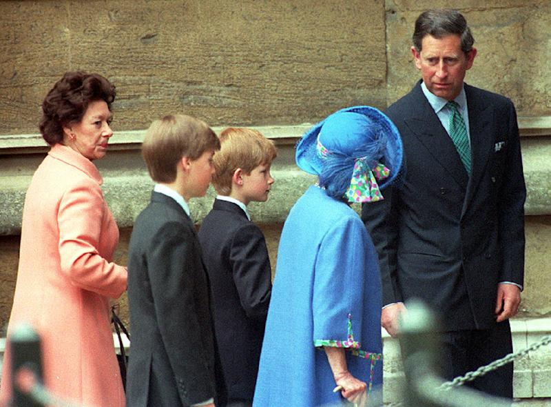 The Prince of Wales with the Queen Mother, Princes William and Harry and Princess Margaret as they enter St. George's Chapel in Windsor Castle to attend the traditional Easter Sunday service. (Photo by Martin Keene - PA Images/PA Images via Getty Images)