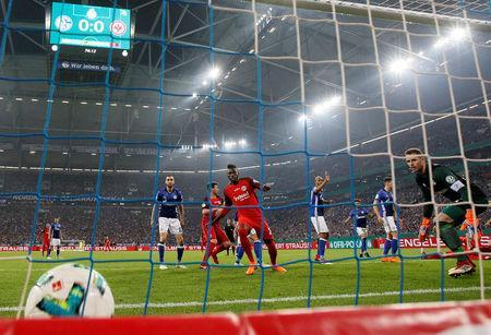 Soccer Football - DFB Cup - Schalke 04 vs Eintracht Frankfurt - Veltins-Arena, Gelsenkirchen, Germany - April 18, 2018 Eintracht Frankfurt's Luka Jovic scores their first goal REUTERS/Wolfgang Rattay