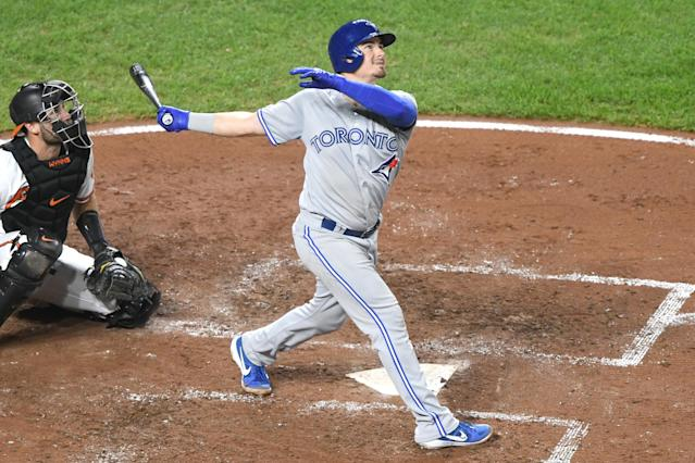 BALTIMORE, MD - SEPTEMBER 19: Reese McGuire #10 of the Toronto Blue Jays takes a swing during a baseball game against the Baltimore Orioles at Oriole Park at Camden Yards on September 19, 2019 in Baltimore, Maryland. (Photo by Mitchell Layton/Getty Images)