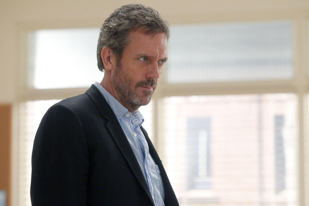 "HOUSE -- ""Two Stories"" Episode 712 -- Pictured: Hugh Laurie as Dr. Greg House  (Photo by Jordin Althaus/NBC/NBCU Photo Bank via Getty Images)"