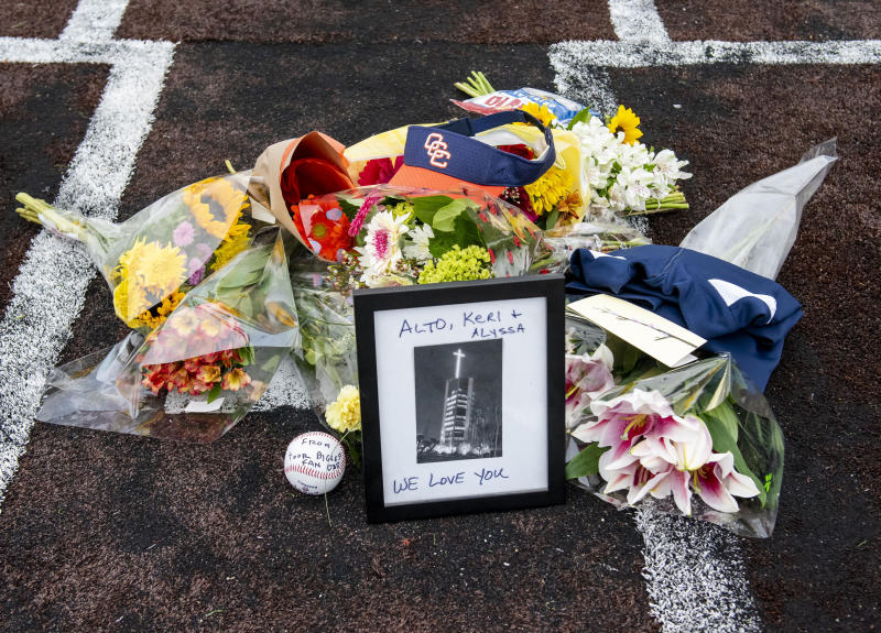A memorial for the Altobelli family will be held at Angel Stadium. (Leonard Ortiz/The Orange County Register via AP)