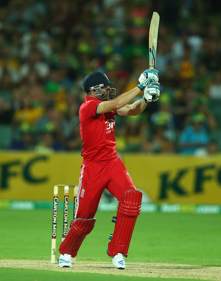 ADELAIDE, AUSTRALIA - JANUARY 26: Jos Buttler of England hits out during game five of the One Day International Series between Australia and England at Adelaide Oval on January 26, 2014 in Adelaide, Australia.  (Photo by Robert Cianflone/Getty Images)