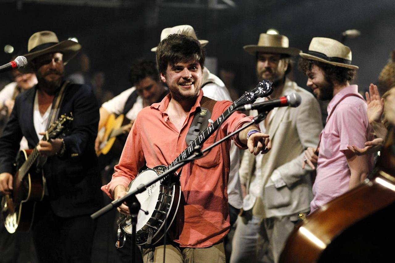 COMMERCIAL IMAGE - In this photograph taken by AP Images for Myspace, Winston Marshall, of Mumford & Sons, performs at the Myspace Big Easy Express concert at SXSW in Austin, Texas, Saturday, March 17, 2012. (Jack Dempsey/AP Images for Myspace)