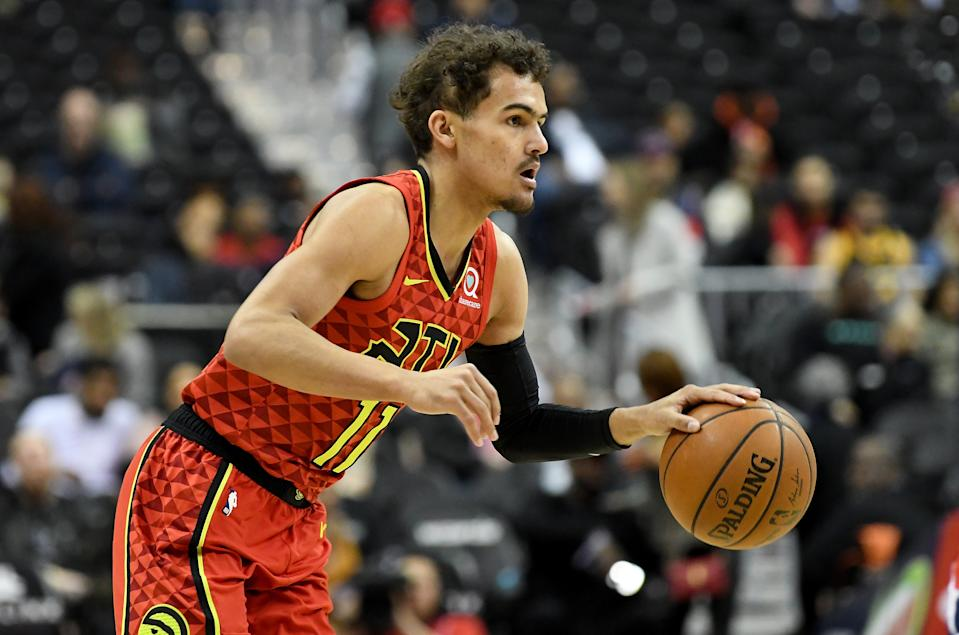 Trae Young #11 of the Atlanta Hawks handles the ball against the Washington Wizards