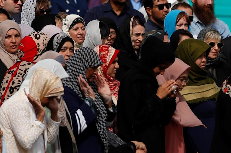 Jacinda Ardern attends the Friday prayers at Hagley Park (REUTERS)