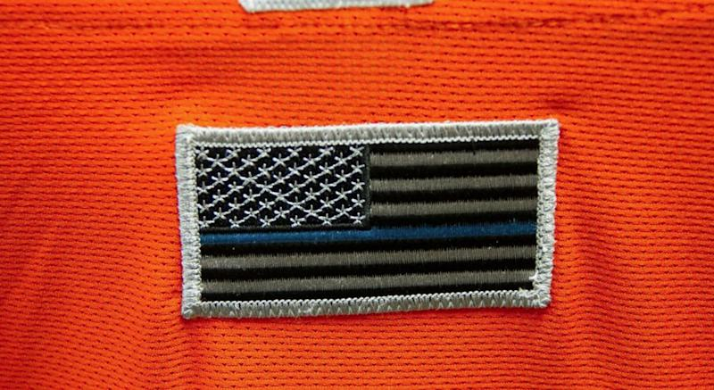The Aberdeen Ironbirds say they have worn a Blue Lives Matter flag patch on their uniforms since 2016. (Photo via IronBirds PR)