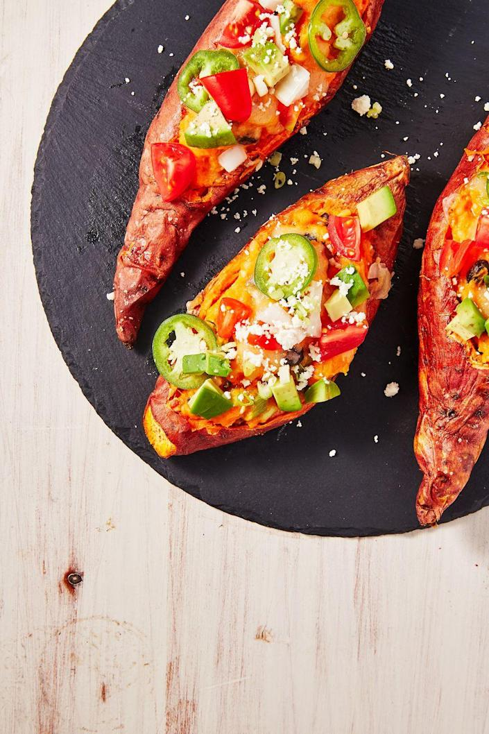 """<p>Serve 'em loaded up or with a pat of butter and some cinnamon. We like them either way!</p><p>Get the recipe from <a href=""""https://www.delish.com/cooking/recipe-ideas/a28903321/best-twice-baked-sweet-potatoes-recipe/"""" rel=""""nofollow noopener"""" target=""""_blank"""" data-ylk=""""slk:Delish"""" class=""""link rapid-noclick-resp"""">Delish</a>. </p>"""