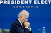 U.S. President-elect Joe Biden holds videoconference meeting with U.S Conference of Mayors at his transition headquarters in Wilmington, Delaware