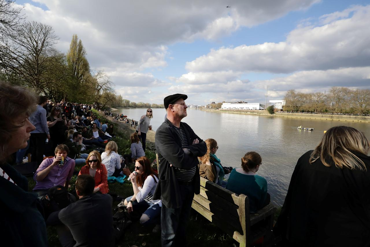 Britain Rowing - 2017 Oxford v Cambridge University Boat Race - River Thames, London - 2/4/17 - A spectator before the race begins.      REUTERS/Kevin Coombs