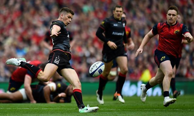 """<span class=""""element-image__caption"""">Owen Farrell, who kicked 16 points against Munster, said Saracens 'dealt with the occasion' at the Aviva Stadium.</span> <span class=""""element-image__credit"""">Photograph: Clodagh Kilcoyne/Reuters</span>"""