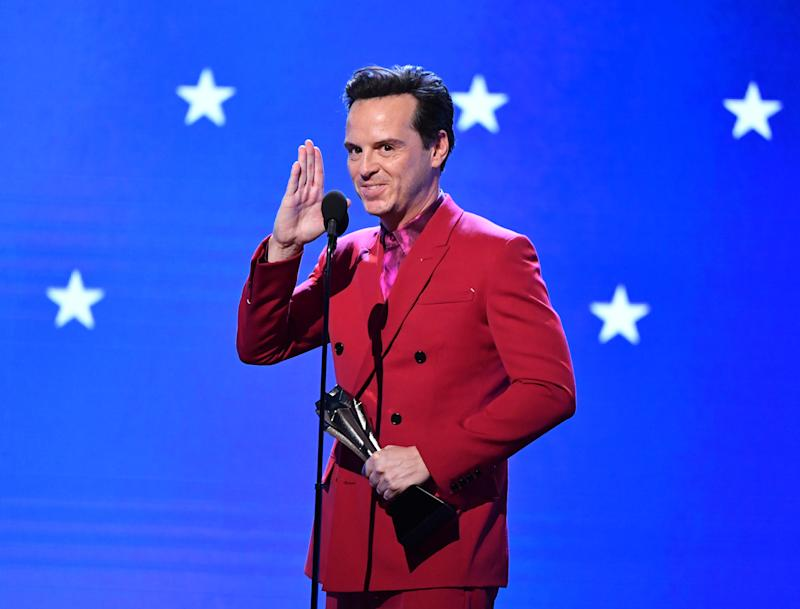 SANTA MONICA, CALIFORNIA - JANUARY 12: Andrew Scott accepts the Best Supporting Actor in a Comedy Series award for 'Fleabag' onstage during the 25th Annual Critics' Choice Awards at Barker Hangar on January 12, 2020 in Santa Monica, California. (Photo by Amy Sussman/Getty Images)