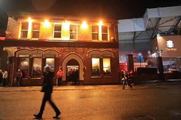 The Albert pub on Walton Breck Road after the match at Anfield.