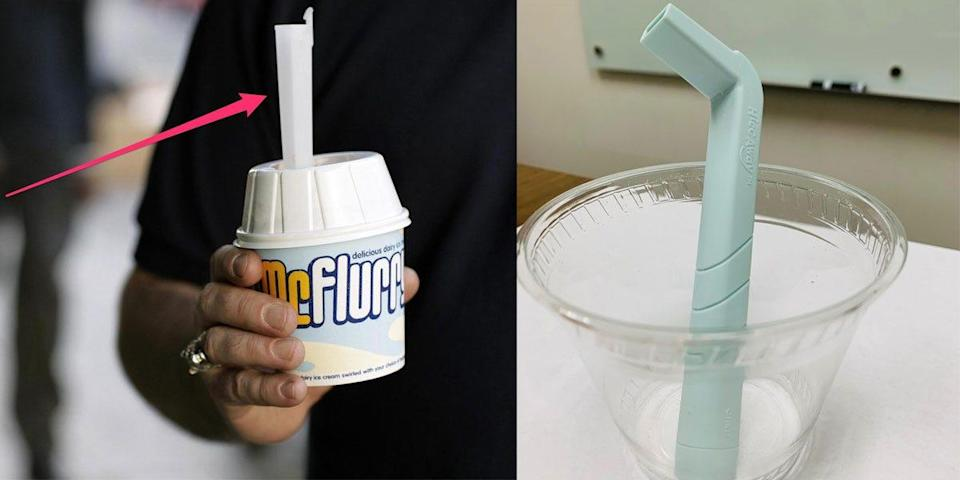 Left side of photo: a person holding a mc flurry, with an arrow pointing to the thick straw. Right side of the photo: the HiccAway straw.
