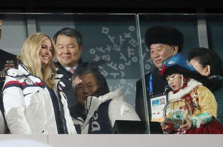 Pyeongchang 2018 Winter Olympics - Closing ceremony - Pyeongchang Olympic Stadium - Pyeongchang, South Korea - February 25, 2018 - Ivanka Trump (L to R), U.S. President Donald Trump's daughter and senior White House adviser, South Korean President Moon Jae-in and Kim Yong Chol of the North Korea delegation attend the closing ceremony. REUTERS/Lucy Nicholson