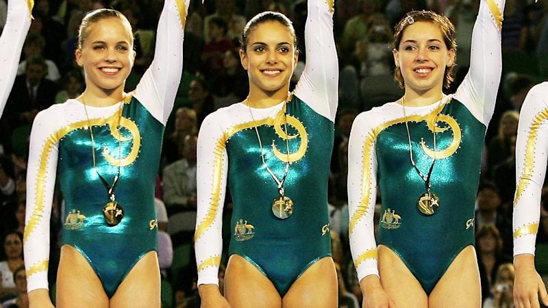Chloe Gilliland pictured far right is one of a number of Aussie gymnasts to speak out against abuse.