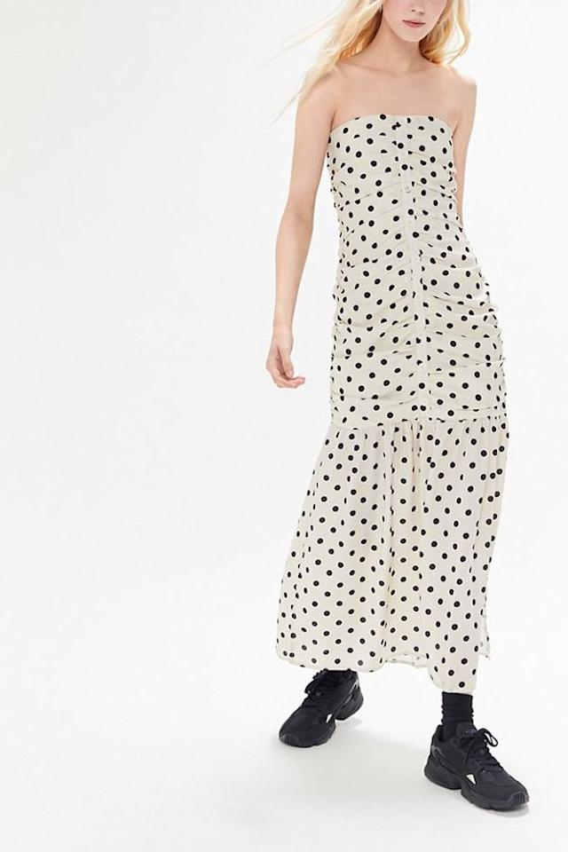 """Style this polka-dot dress that <a href=""""https://www.teenvogue.com/story/kendall-jenner-loves-polka-dots?mbid=synd_yahoo_rss"""">Kendall Jenner would approve of</a> with platform combat boots for an edgy look. $89, Urban Outfitters. <a href=""""https://www.urbanoutfitters.com/shop/uo-camille-ruched-strapless-midi-dress?category=dresses&color=018&type=REGULAR"""">Get it now!</a>"""
