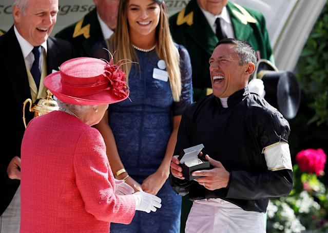 REFILE - CORRECTING TYPO Horse Racing - Royal Ascot - Ascot Racecourse, Ascot, Britain - June 21, 2018 Frankie Dettori with Britain's Queen Elizabeth after winning the 4.20 Gold Cup riding Stradivarius REUTERS/Peter Nicholls