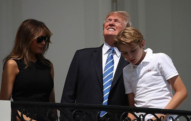 He was pictured on the balcony of The White House with Melania and Baron. Photo: Getty Images