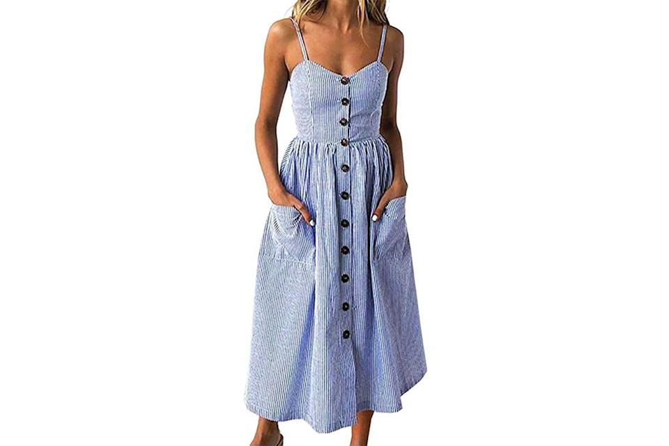 Halife button down swing dress in blue and white stripes
